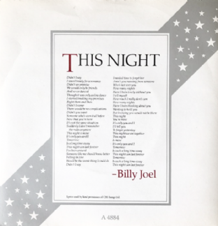 "Billy Joel ‎- This Night (7"") (EX/VG)"